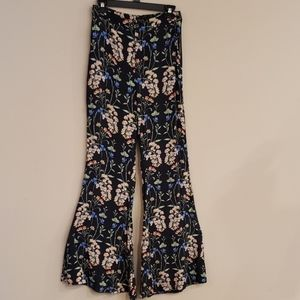 ZARA Woman Wide Leg Navy Floral Pants Large